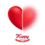 Valentin kort för daghälsning med halv suddig röd realistisk hjärta Arkivfoto