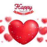 Valentin kort för daghälsning, röda realistiska hjärtor Royaltyfria Bilder