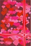 Valentin kort med en pilbåge. Vektor. Arkivbilder