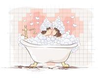 Valentin kort -- vänner i badet Arkivbild