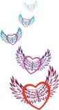 valentin Mångfärgade hjärtor som symboliserar förälskelse, fluga på de mönstrade vingarna av förälskelse på dagen av den Sanka va Royaltyfri Bild