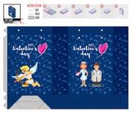 Valentin mall för dagpacke med doktorn och sjuksköterskan vektor illustrationer