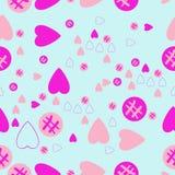 Valentin naadloos patroon, harten, ellipsengekrabbel Getrokken hand royalty-vrije illustratie