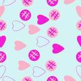 Valentin naadloos patroon, harten, ellipsengekrabbel Getrokken hand vector illustratie