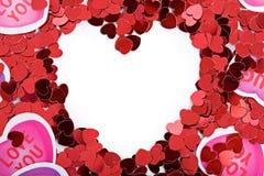 Valentin: Pappers- hjärta Valentine Frame eller gräns Arkivbilder
