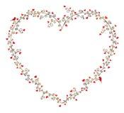 Valentin ram för dagvektor för text, sammansättning av lockiga trädfilialer med många hjärtor och två fåglar Royaltyfri Foto