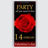 Valentin reklamblad för dagparti Arkivbild