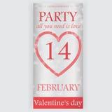 Valentin reklamblad för dagparti Arkivfoton