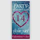 Valentin reklamblad för dagparti Arkivfoto