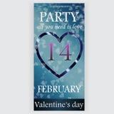 Valentin reklamblad för dagparti Royaltyfri Bild