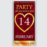 Valentin reklamblad för dagparti Fotografering för Bildbyråer