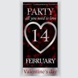 Valentin reklamblad för dagparti Arkivbilder