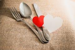 Valentin romantiskt matställebegrepp Arkivfoton