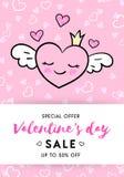 Valentin rosa färger för mall för baner för dagförsäljning stock illustrationer