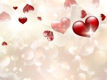 Valentin ` s与红色心脏的天卡片。EPS 10 免版税库存图片