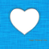 Valentin's background. Card by day of Saint Valetin. On blue fabric heart is cut out Stock Image