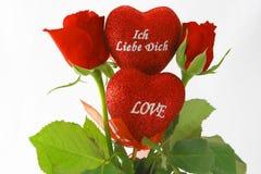Valentin´s day. Rosesand hearts on valentin´s day Royalty Free Stock Photography