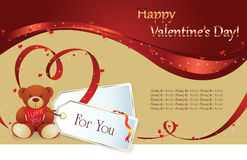 Valentin`s Day background. Vector background: Valentin`s Day card with hearts of the ribbon and gift Royalty Free Stock Photo