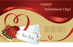 Valentin`s Day background. Vector background: Valentin`s Day card with hearts of the ribbon and gift Royalty Free Stock Photography