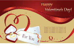 Valentin`s Day background. Vector background: Valentin`s Day card with hearts of the ribbon and gift Royalty Free Stock Images