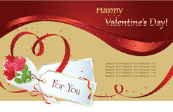 Valentin`s Day background. Vector background: Valentin`s Day card with hearts of the ribbon and gift Stock Image