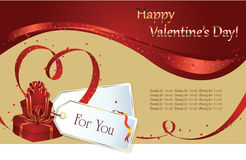 Valentin`s Day background. Vector background: Valentin`s Day card with hearts of the ribbon and gift Stock Photography