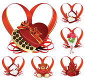 Valentin`s Day background. Vector background: Valentin`s Day icon with hearts of the ribbon and gift Stock Photography