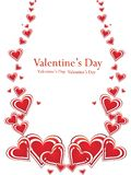 Valentin`s day card. With red hearts Royalty Free Stock Photo