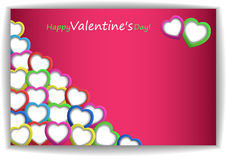Valentin`s Day Card. With Hearts, Vector Illustration Stock Photography