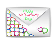 Valentin`s Day Card. With Hearts, Vector Illustration Stock Images