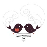 Valentin`s Day card with birds Royalty Free Stock Images