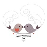 Valentin`s Day card with birds Stock Photography