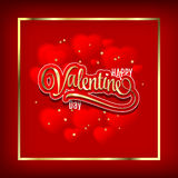 Valentin`s Day Card With fuzzy hearts. Gold ornate lettering. Vector Illustration. Stock Photography