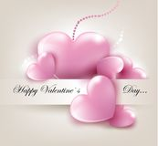 Valentin`s Day card with hearts. Valentin`s Day card with pink hearts. Vector Illustration Stock Photos