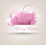 Valentin`s Day card with hearts. Valentin`s Day card with pink hearts. Vector Illustration Stock Photography