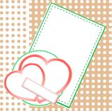 Valentin`s Day card with two love hearts.  Stock Photography