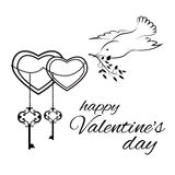 Valentin`s day greeting card. Template in black and white colors vector illustration