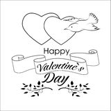 Valentin`s day greeting card. Template in black and white colors royalty free illustration