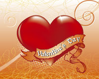 Valentin`s Day Heart. Valentin`s Day card with red hearts on floreal background Stock Photo