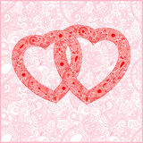 Valentin Tageskarte mit Innerem Lizenzfreie Stockfotos