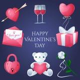 Valentin uppsättning för dagsymboler royaltyfri illustrationer