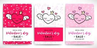 Valentin uppsättning för reklamblad för dagförsäljning stock illustrationer