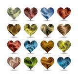 Valentin uppsättning för symbol för daghjärta Arkivfoto