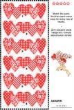 Valentin visuell gåta för dag med rader av dekorativa hjärtor vektor illustrationer