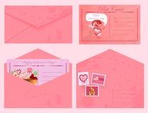 Valentin vykort och kuvert för dagtappning. Royaltyfri Foto