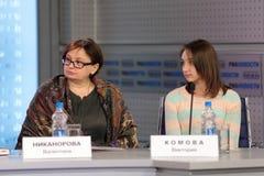 Valentina Nikanorova y Victoria Komova Imágenes de archivo libres de regalías
