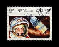 Valentina Tereshkova, soviet astronaut, 1st woman in the space, rocket shuttle, Cambodia (Republic of Kampuchea), circa Royalty Free Stock Photography