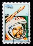 Valentina Tereshkova und Wostok 6, 25. Anniv des ersten Mannes in Raum serie, circa 1986 Stockbilder