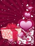 Valentinbakgrund med gåvan boxas Arkivfoton