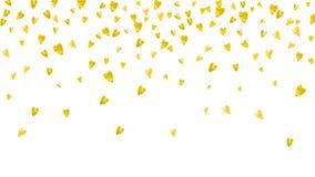 Valentinbakgrund med guld blänker hjärtor Februari 14th dag vektor illustrationer